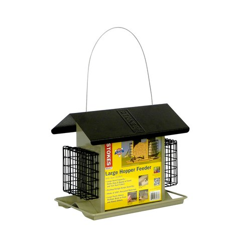 Stokes Select Large Hopper Bird Feeder with Metal Roof And Suet Cake Holders, 6 lb Seed Capacity and 2 Suet Cake Capacity