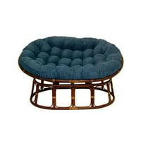 International Caravan 3304-MS-IN 63 x 45 in. Double Papasan Chair with Micro Suede Cushion, Indigo