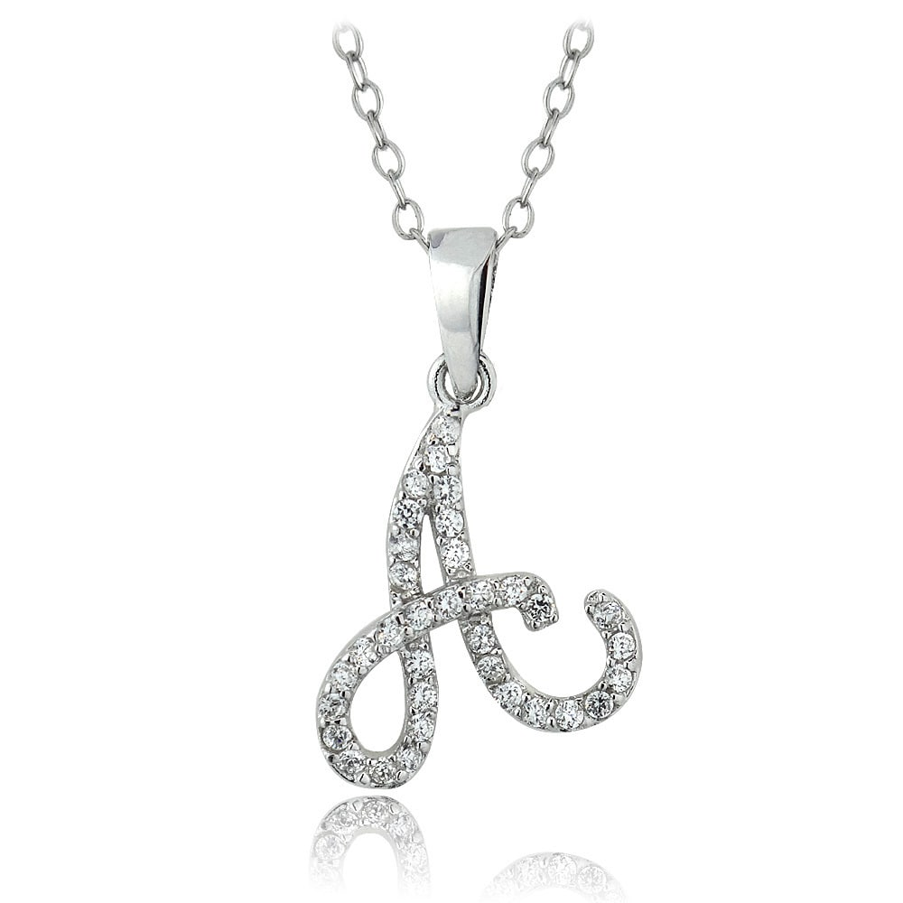 Crystal Ice ICZ Stonez Sterling Silver Cubic Zirconia Initial Necklace