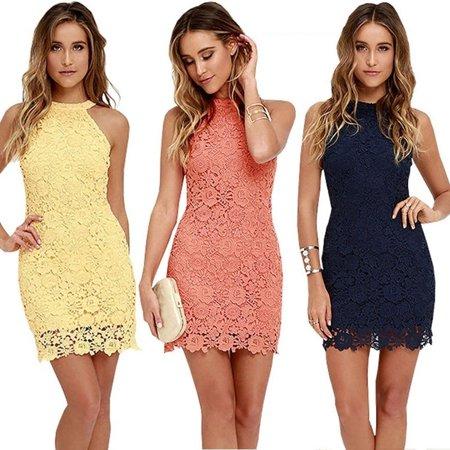 Sexy Women Halter Lace Dress Cocktail Party Bodycon Sleeveless Mini (Lace Halter Mini Dress)