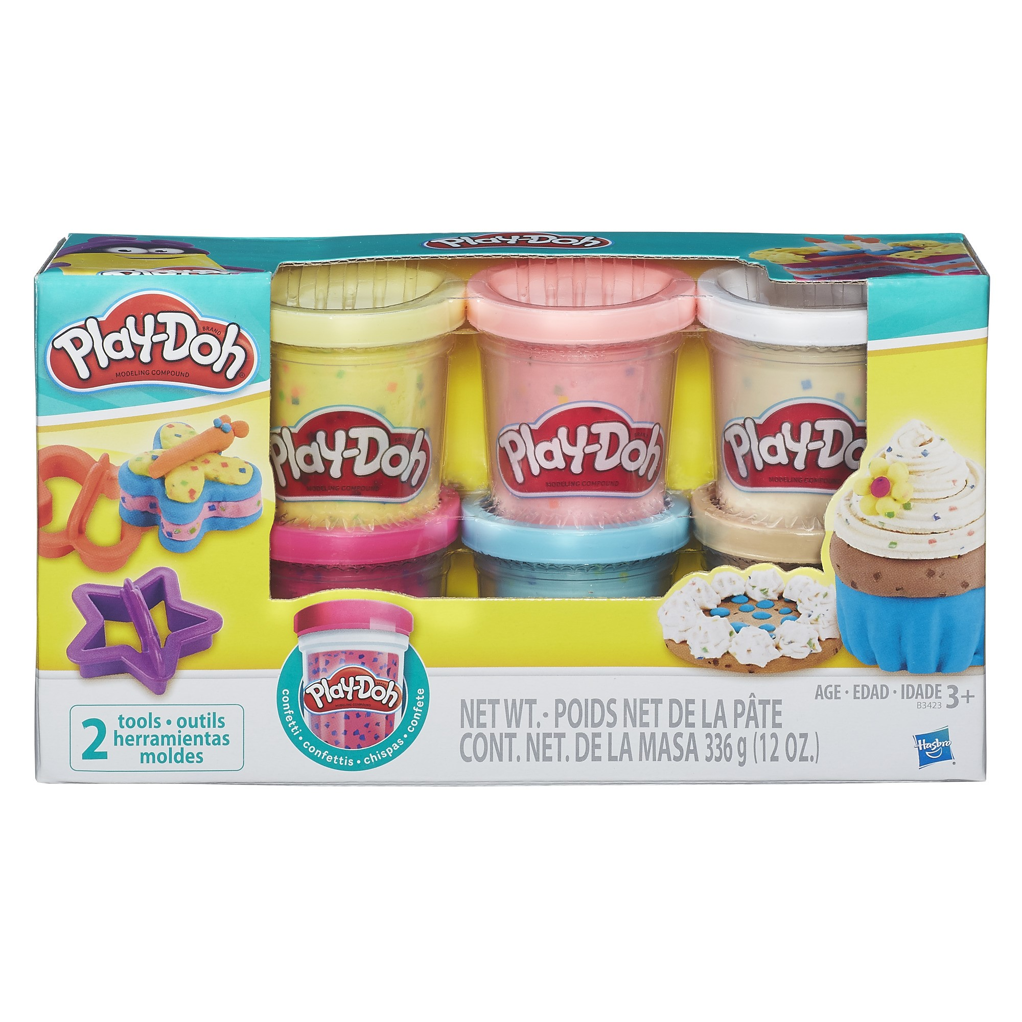Play-Doh Confetti 6 Pack with Tools, 12 oz