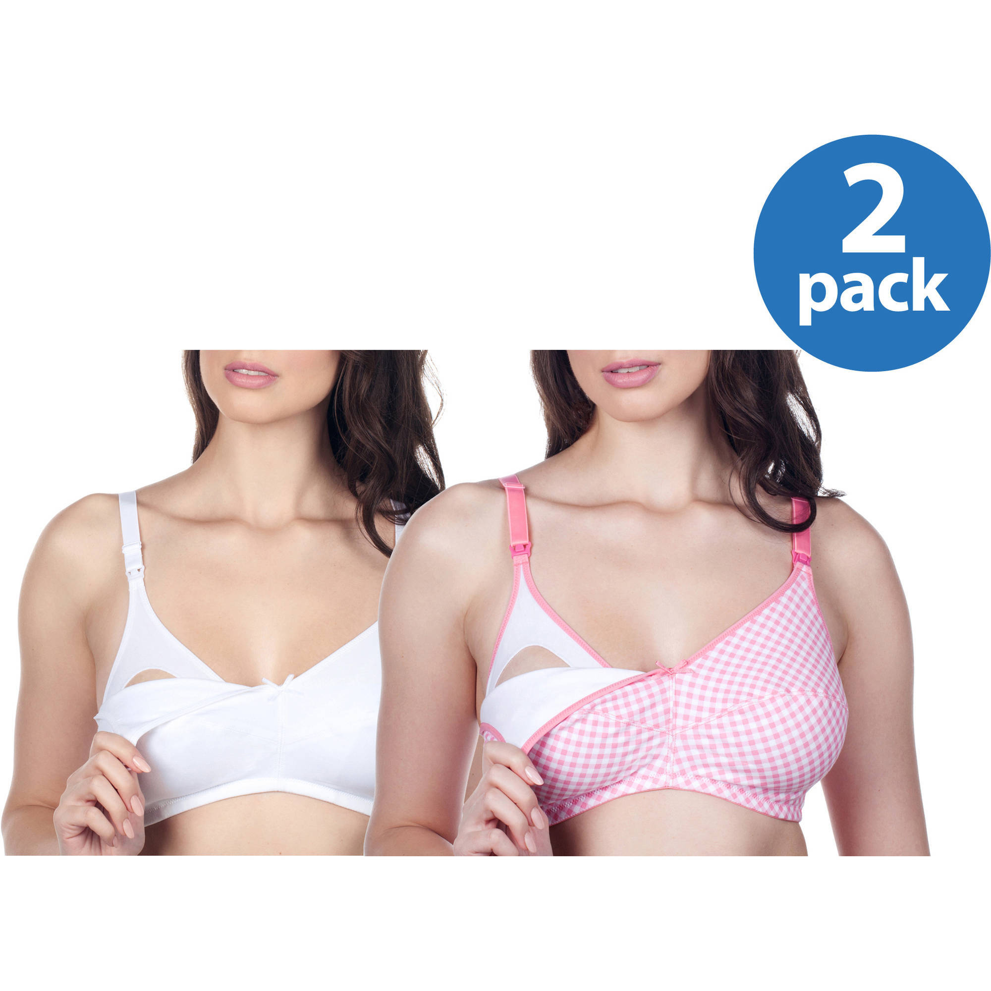 Loving Moments by Leading Lady Maternity Wirefree Softcup Nursing Bra with Full Sling, 2-Pack