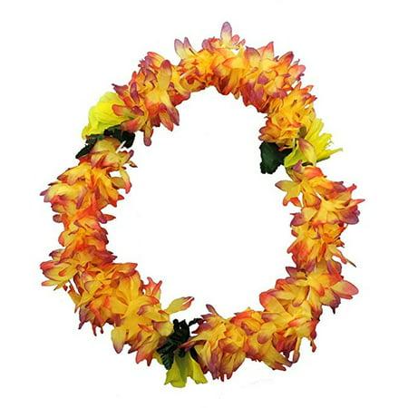 Tropical SUNSET Hawaiian Lei Polynesian Faux Hybiscus Flower Necklace - Hawaiian Flower Necklace