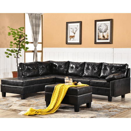 Harper Bright Designs Leather L Shape Sectional Sofa Set With Reversible Chaise Lounge And Storage Ottoman Dark Brown
