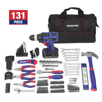 131-Piece WORKPRO 20-Volt Lithium-Ion Cordless Drill Project Kit