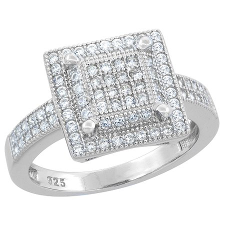 Sterling Silver Micro Pave Cz Square Ring Raised Center  1 2 Inch Wide  Sizes 6   9