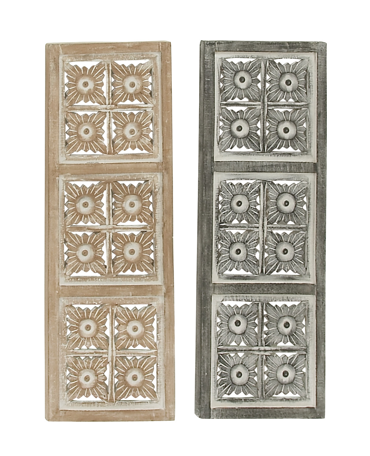 "Woodland Imports 2 Assorted Gorgeous Wood Metal Wall Panel, 12"" W x 36"" H by Woodland Imports"