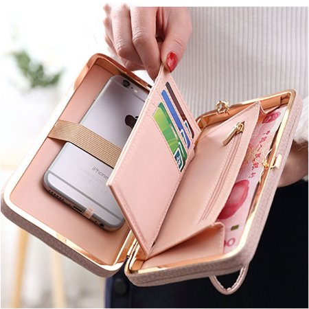 Dual Zip Wallet Organizer - Women Bowknot Wallet PU Leather Purse Card Holder Organizer with Zip Ladies Wallet