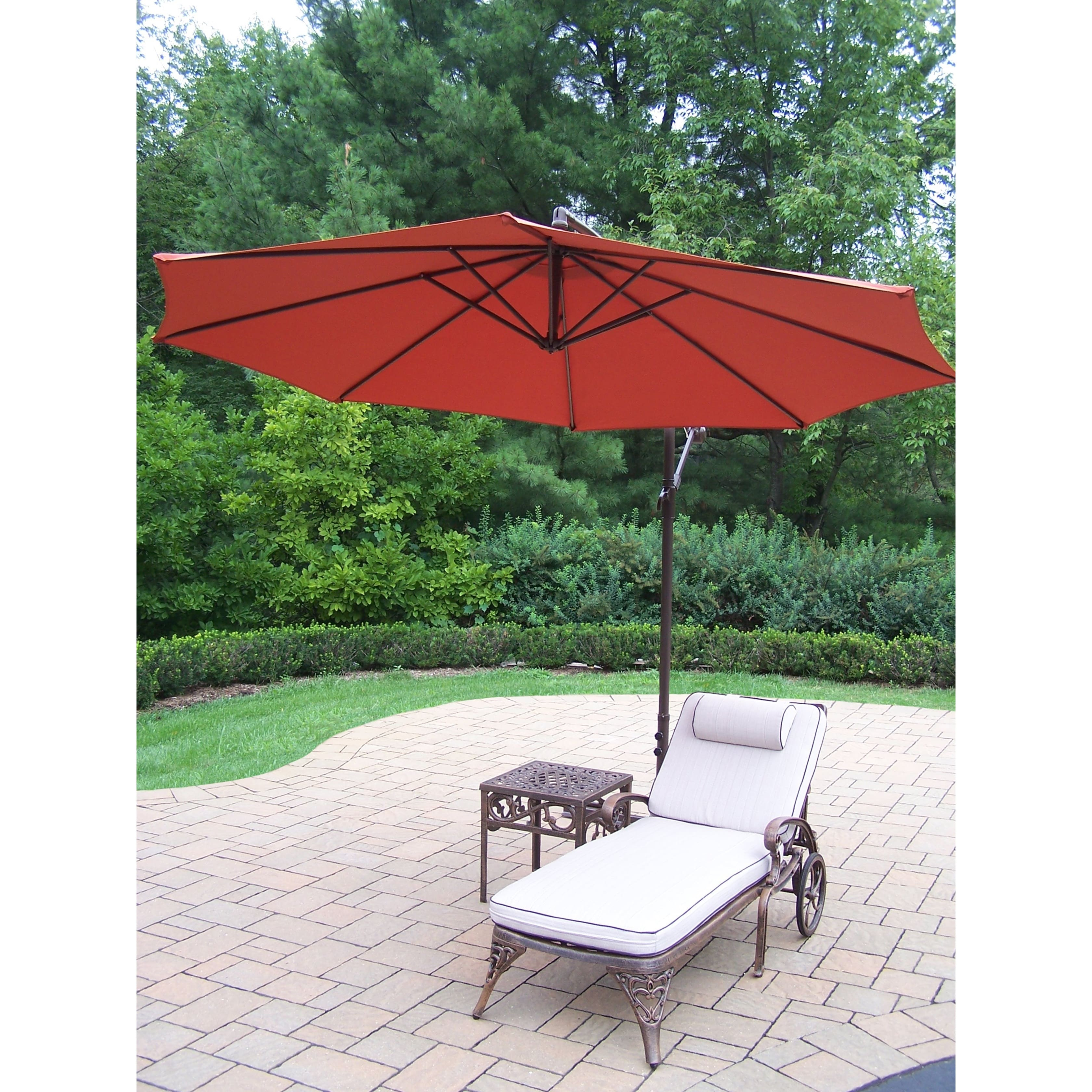 Oakland Living Corporation Merit 3-Piece Cast Aluminum Lounge Set with 10 ft Orange Umbrella