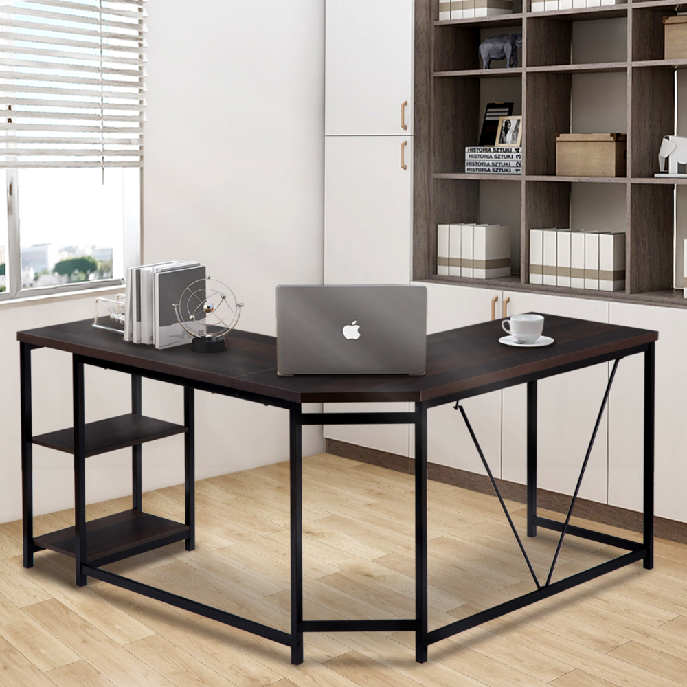Office Desk —L-Shaped Computer Desk With 2-Tier Storage