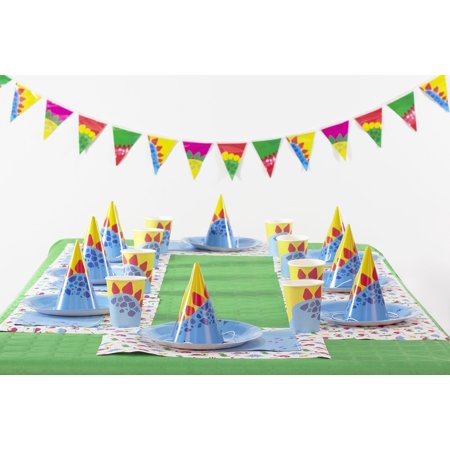 Doiy DYPARTYDI My Party Box Dino 8 placemats, 8 dishes, 8 cups, 8 hats, 8 napkins, 16 flags (1 garland)