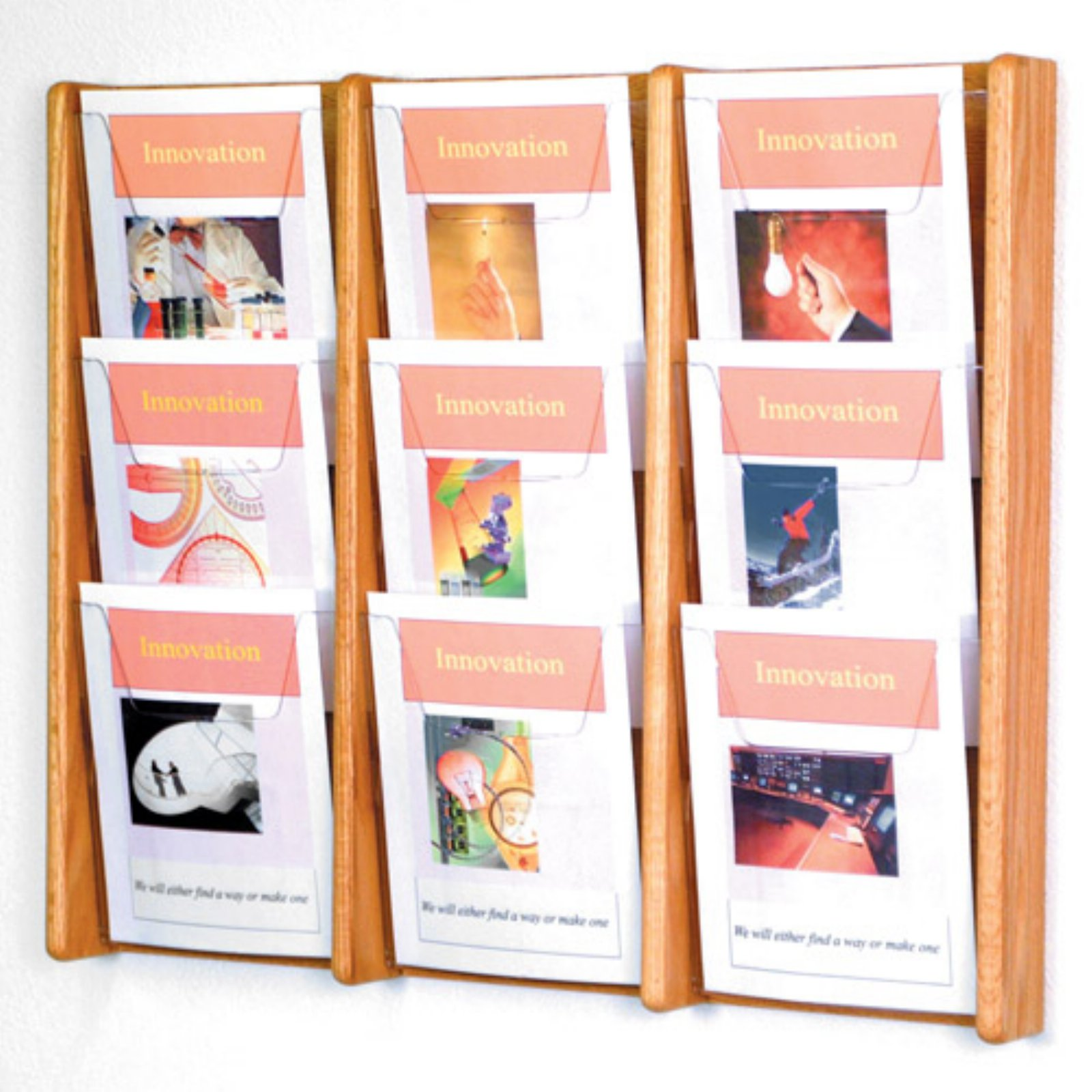 9-Pocket Solid Wood Wall Magazine Rack