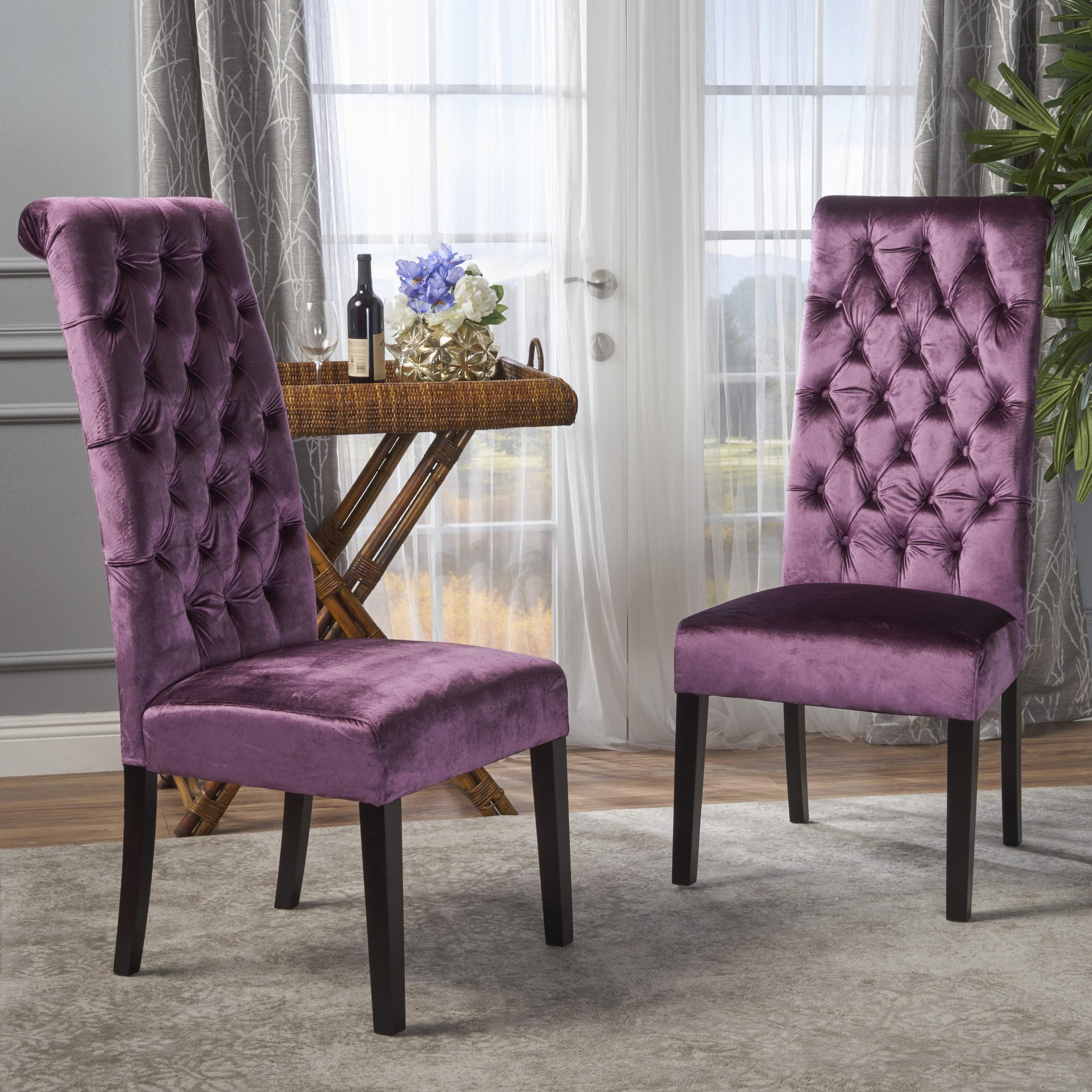 Noble House Leon Tall Back Tufted Velvet Dining Chair ,Raisin