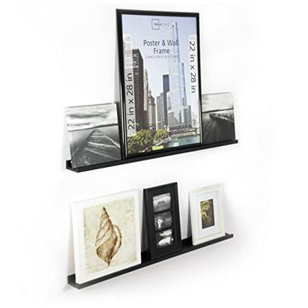 Denver Modern Floating Wall Ledge Shelf for Pictures and Frames 46 Inches Long Black Set of 2 ()