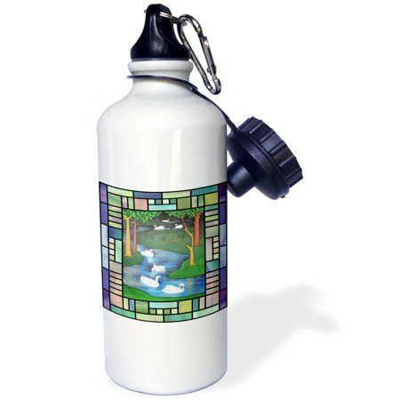 (3dRose Seven Swans A-Swimming - animal, the twelve days of christmas, swan, christmas, swan art, swans, Sports Water Bottle, 21oz)
