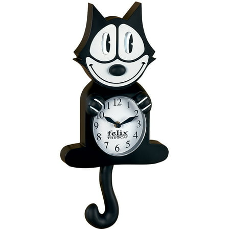 Authentic Cartoon Collectible Felix The Cat Wall Clock w/ Moving Eyes & (Black Cat Clock With Moving Eyes And Tail)