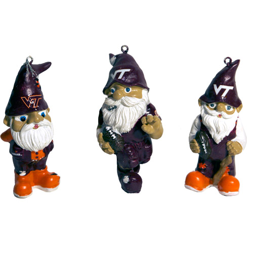 Forever Collectables NCAA Gnome Christmas Ornament Set, Virginia Tech University Hokies, 3pk