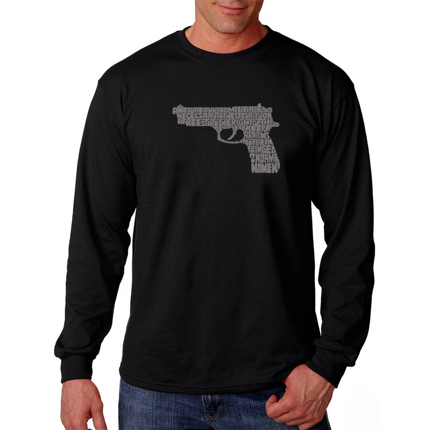 Los Angeles Pop Art Big Men's Long Sleeve T-shirt - Right to Bear Arms