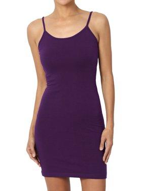 TheMogan Women's Adjustable Strap Stretch Bodycon Slip Dress Sleeveless Long Cami
