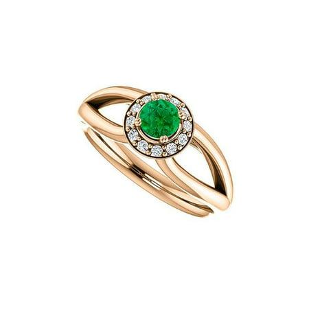 0.75 CT 14K Rose Gold Vermeil Leaf Shape Split Shank Emerald Cubic Zirconia Halo Ring, Size 6 - image 1 de 1
