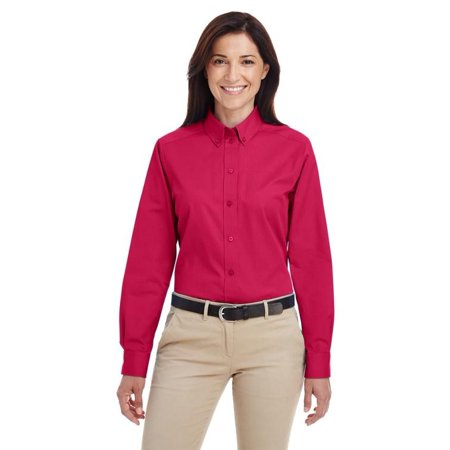 Harriton Ladies Foundation 100% Cotton Long-Sleeve Twill Shirt with Teflon-M581W