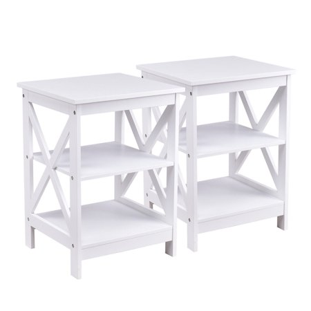 Costway 2PC 3-Tier Nightstand End Table Storage Display Shelf Living Room Furni White - image 10 of 10