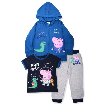 Peppa Pig George Toddler Boys' Zip Hoodie, T-shirt & Jogger Pants, 3pc Outfit Set