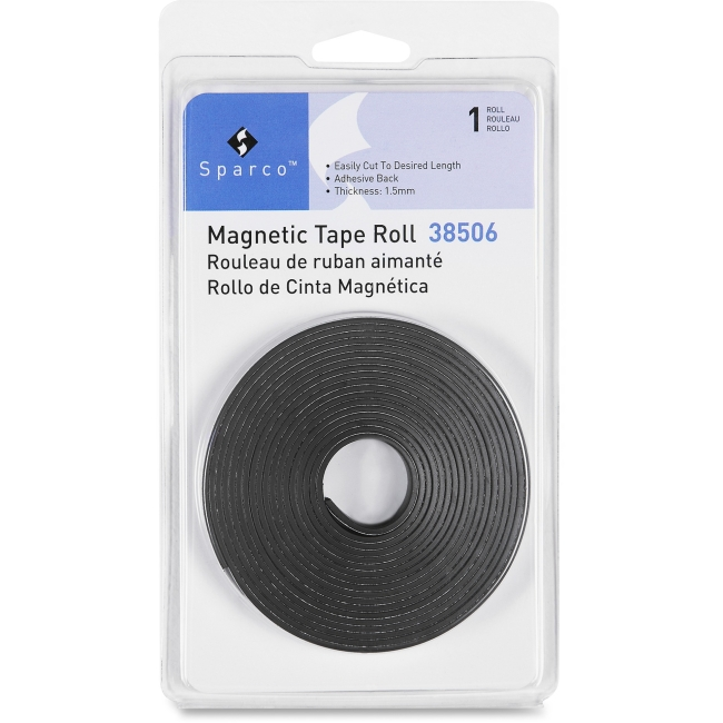 "Sparco 38506 Magnetic Tape Roll - 0.50"" Width X 10 Ft Length - Flexible, Magnetic - 1 Each - Black (spr-38506)"