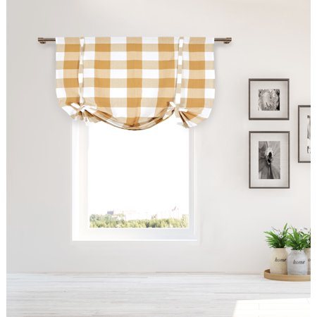 Plaid Gingham Checkered Cotton Blend Kitchen Window Curtain Shade