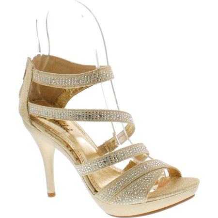 BONNIBEL AMY-34 Womens Back Zipper Sparkle Evening Wedding Promo Sandals Shoes - Online Shoe Promo Code