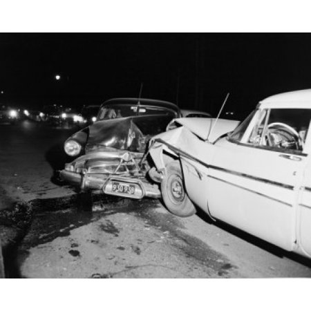 USA Massachusetts Car crash aftermath Stretched Canvas - (24 x 36)
