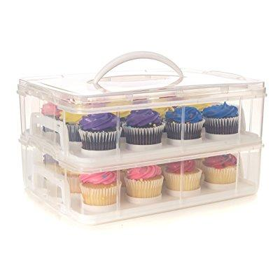 24 large cupcake carrier two tiered holder cake carrier stack and
