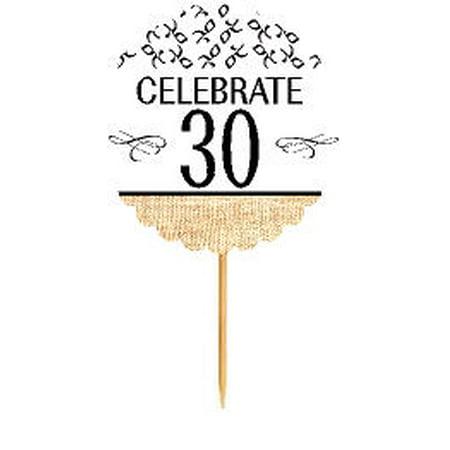 30th Birthday / Anniversary Novelty Burlap Cupcake Decoration Picks -12pack](30th Anniversary Decorations)