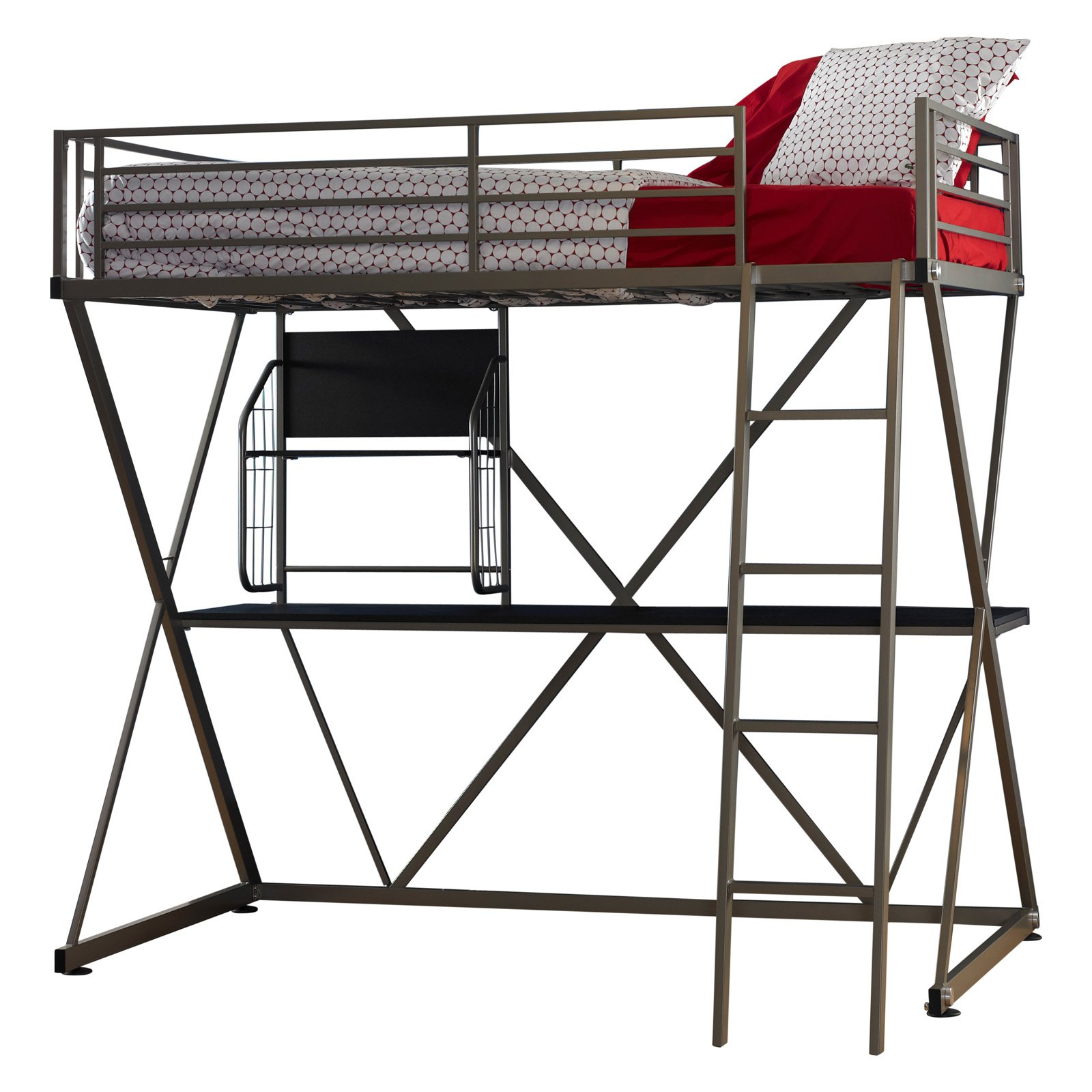 Twin Loft Bed with Study, Pewter