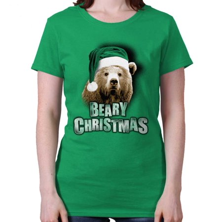 Beary Christmas Shirt   Funny Teddy Santa Claus Gift Idea Elf Ladies T-Shirt - Christmas Dressing Up Ideas