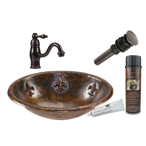 Premier Copper Products Fleur De Lis Oval Self Rimming Sink with Single Handle Faucet and Drain