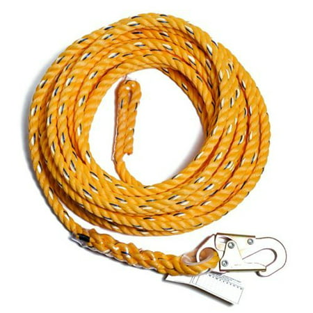 Fall Arrest Rope - Guardian Fall Protection 01330 VL58-25 Standard 5/8 Inch Thick Rope with Snap...