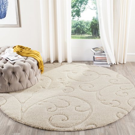 Safavieh Florida Shag Collection Sg455 1111 Scrolling Vine Cream Graceful Swirl Round Area Rug 6 7 Diameter Com