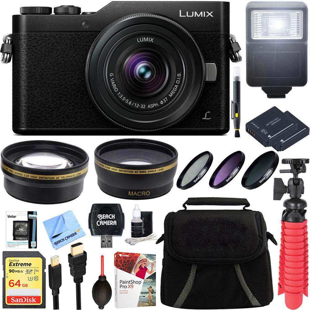 Panasonic LUMIX GX850 4K Mirrorless 16MP Black Digital Camera w/ 12-32mm F3.5-5.6 MEGA O.I.S. Lens Bundle includes 64GB SDXC Memory Card, Spare Batteries, Flash, 37mm Filter Kit, and More!