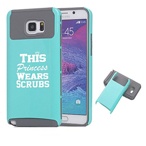 Samsung Galaxy Note 5 Shockproof Impact Hard Case Cover This Princess Wears Scrubs Nurse (Teal-Grey),MIP