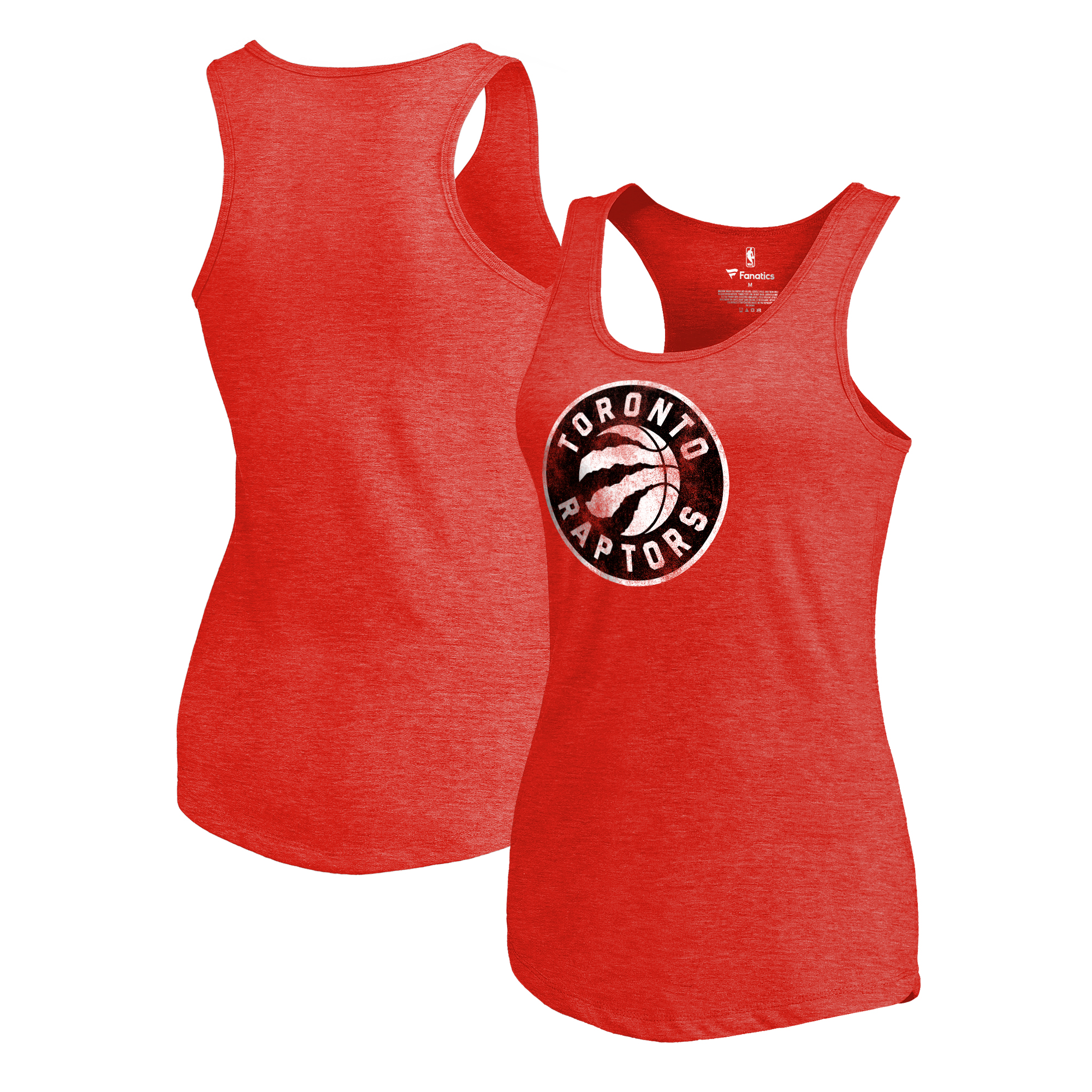 Toronto Raptors Fanatics Branded Women's Distressed Logo Tri-Blend Racerback Tank Top - Red