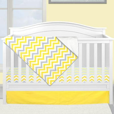 Pam Grace Creations Yellow and Gray Chevron 3 Piece Crib Bedding Set (Pink And Yellow Crib Set)