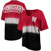 Nebraska Cornhuskers Women's Ombre V-Neck Spirit Jersey T-Shirt - Scarlet/Black