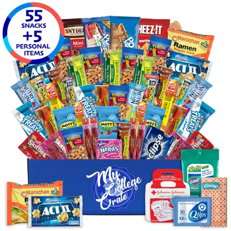 My College Crate Large Ultimate Snack Care Package for College Students - Variety Assortment of Cookies, Chips & Candies - 50 Snacks + 4 Personal Care Items - The Original - Cool Snacks For Halloween
