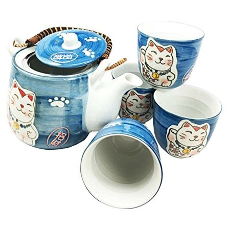 Japanese Design Maneki Neko Lucky Cat Ocean Blue Ceramic Tea Pot and Cups Set Serves 4 Beautifully Packaged in Gift Box Excellent Home Decor Asian Living Gift for Chefs Moms And Sushi Enthusiasts