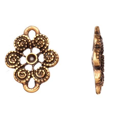 Flower Connector - Spiral Flower Antique Gold-Finished Connector Fits ss6.5/Pp14 Rhinestones 15.2x12mm