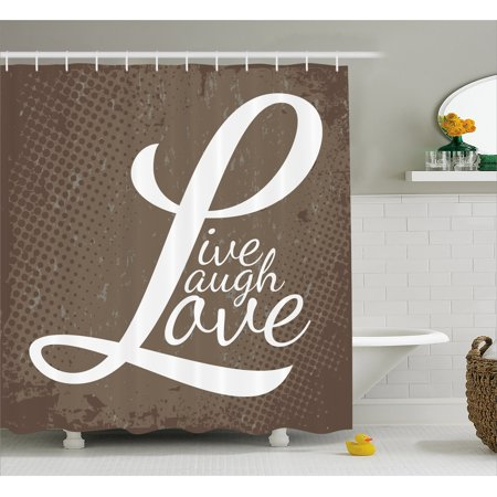 Live Laugh Love Shower Curtain Words On Halftone Worn Out Style Background