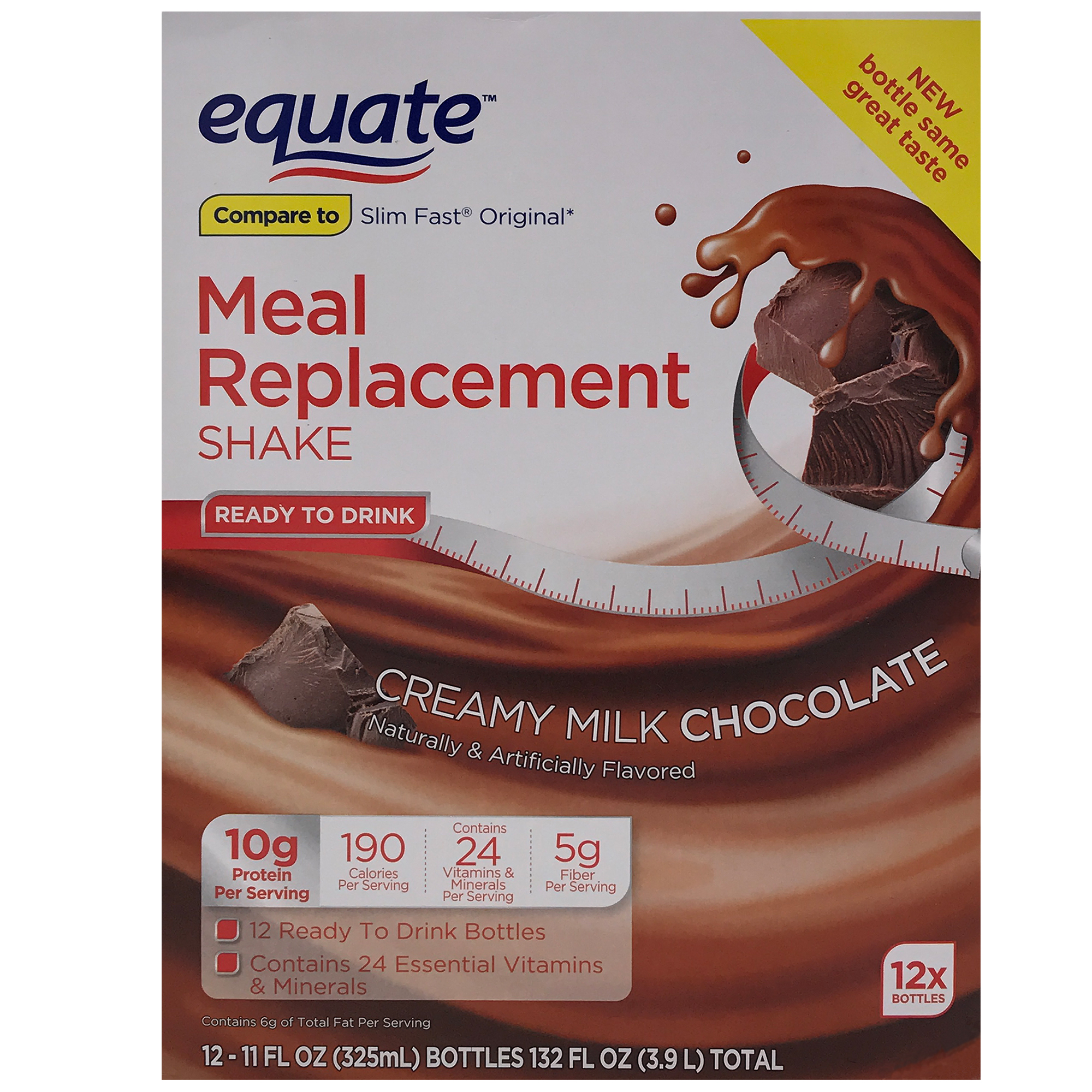 Equate Creamy Milk Chocolate Meal Replacement Shake, 12 ct