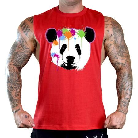 Men's Panda Paintball Dripping Sleeveless Red T-Shirt Gym Tank Top 2X-Large Red