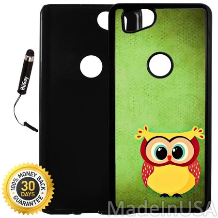 Custom Google Pixel 2 Case (Cute Chubby Owl) Plastic Black Cover Ultra Slim | Lightweight | Includes Stylus Pen by Innosub - Cute Chubby Teen